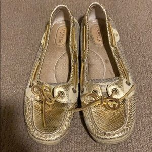 Sperry Gold Metallic Python Boat Shoes